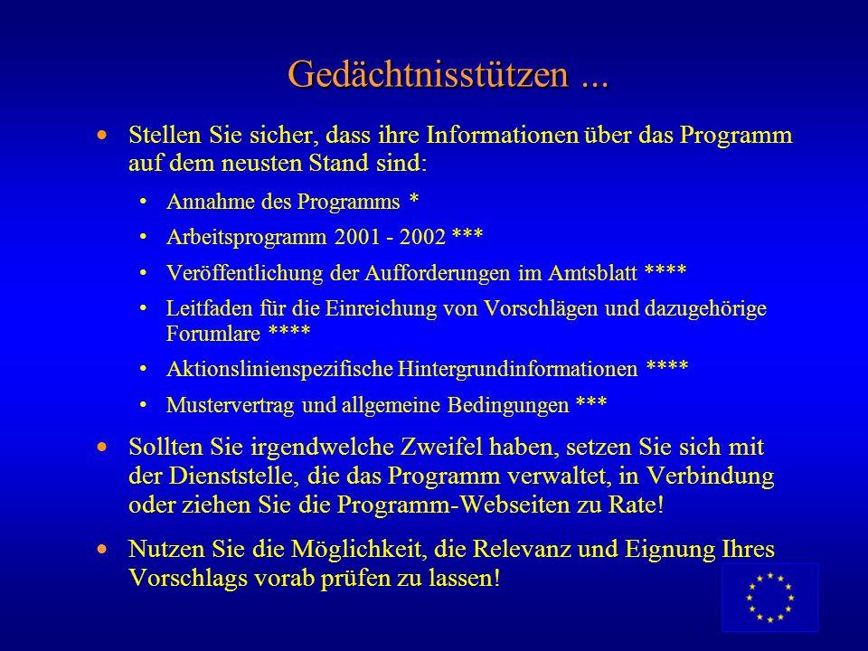 Gedächtnisstützen ... Stellen Sie sicher, dass ihre Informationen über das Programm auf dem neusten Stand sind: