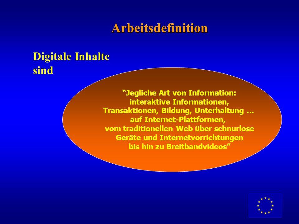 Arbeitsdefinition Digitale Inhalte sind Jegliche Art von Information: