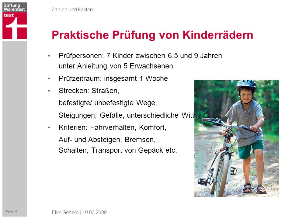 Praktische Prüfung von Kinderrädern