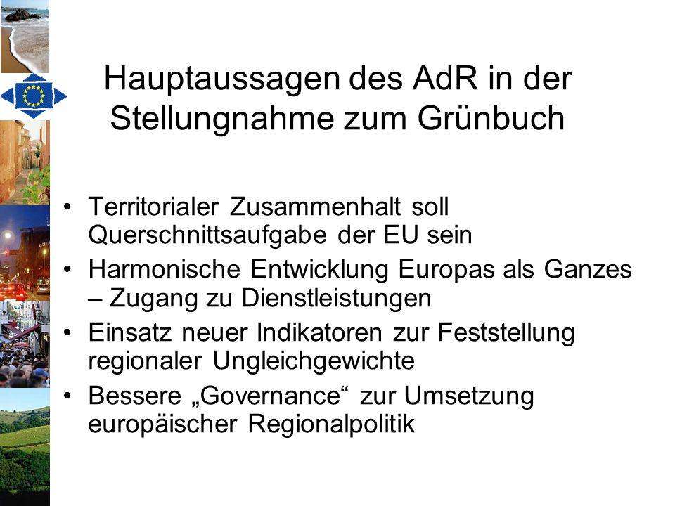 Hauptaussagen des AdR in der Stellungnahme zum Grünbuch