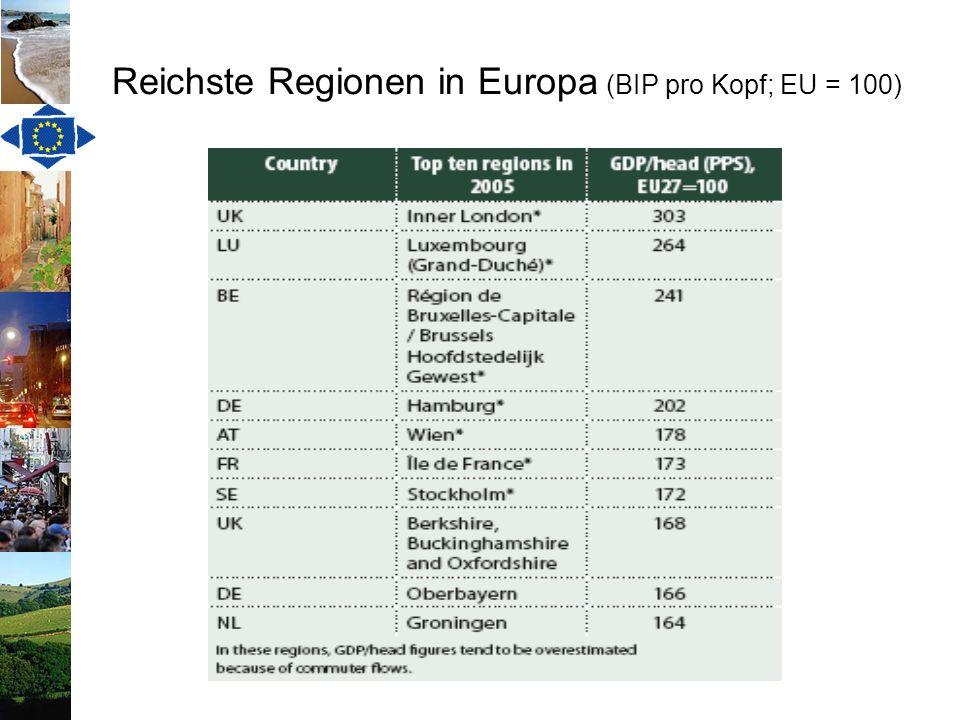 Reichste Regionen in Europa (BIP pro Kopf; EU = 100)