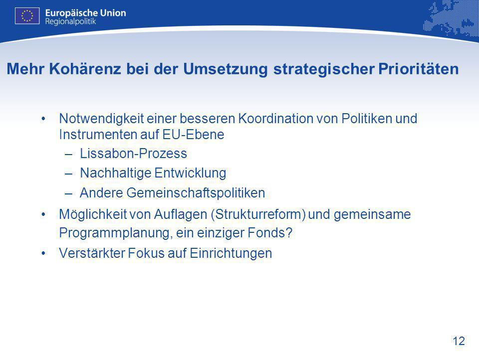 Mehr Kohärenz bei der Umsetzung strategischer Prioritäten
