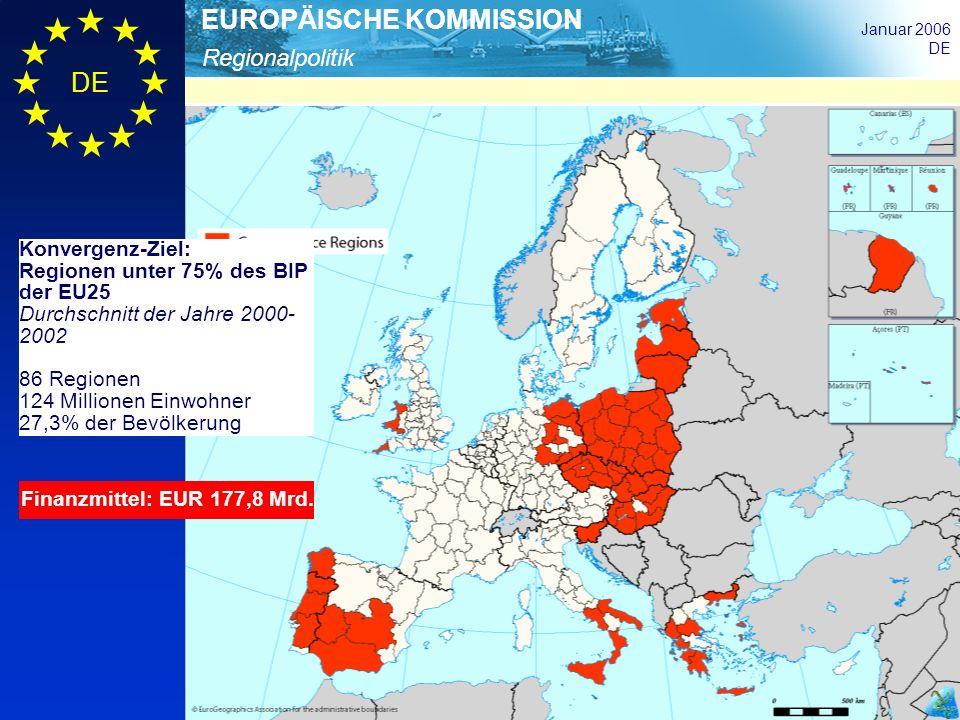 Konvergenz-Ziel: Regionen unter 75% des BIP der EU25. Durchschnitt der Jahre 2000-2002. 86 Regionen.