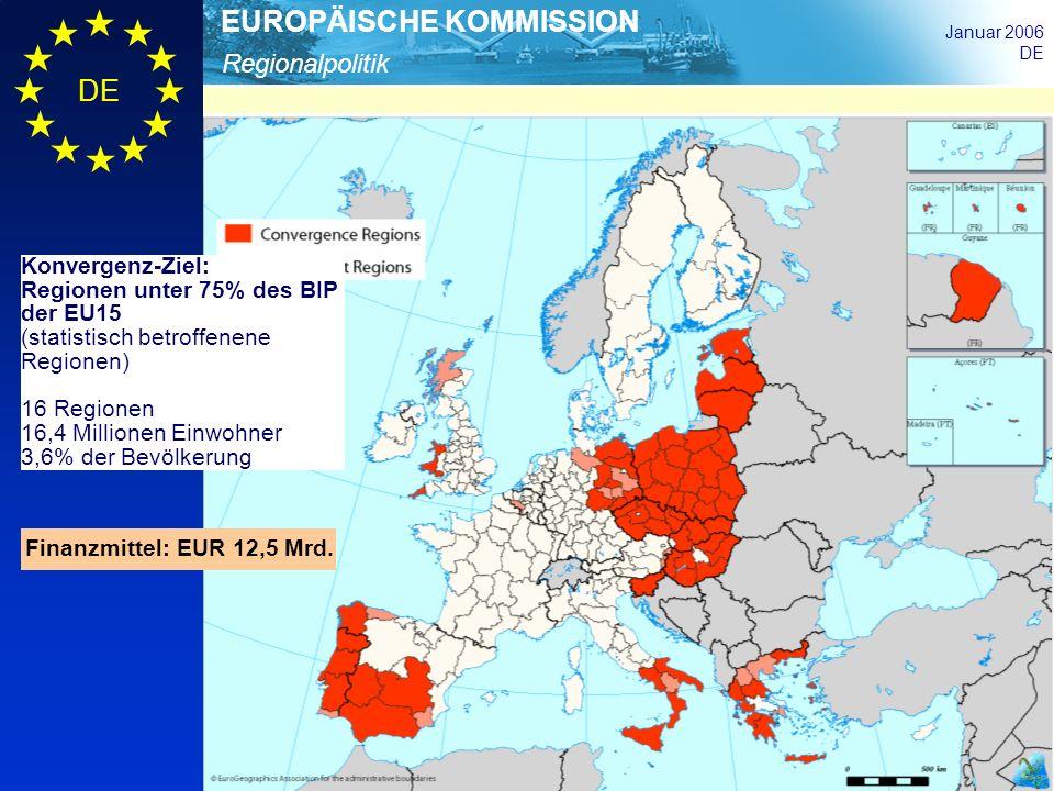Konvergenz-Ziel:Regionen unter 75% des BIP der EU15. (statistisch betroffenene Regionen) 16 Regionen.
