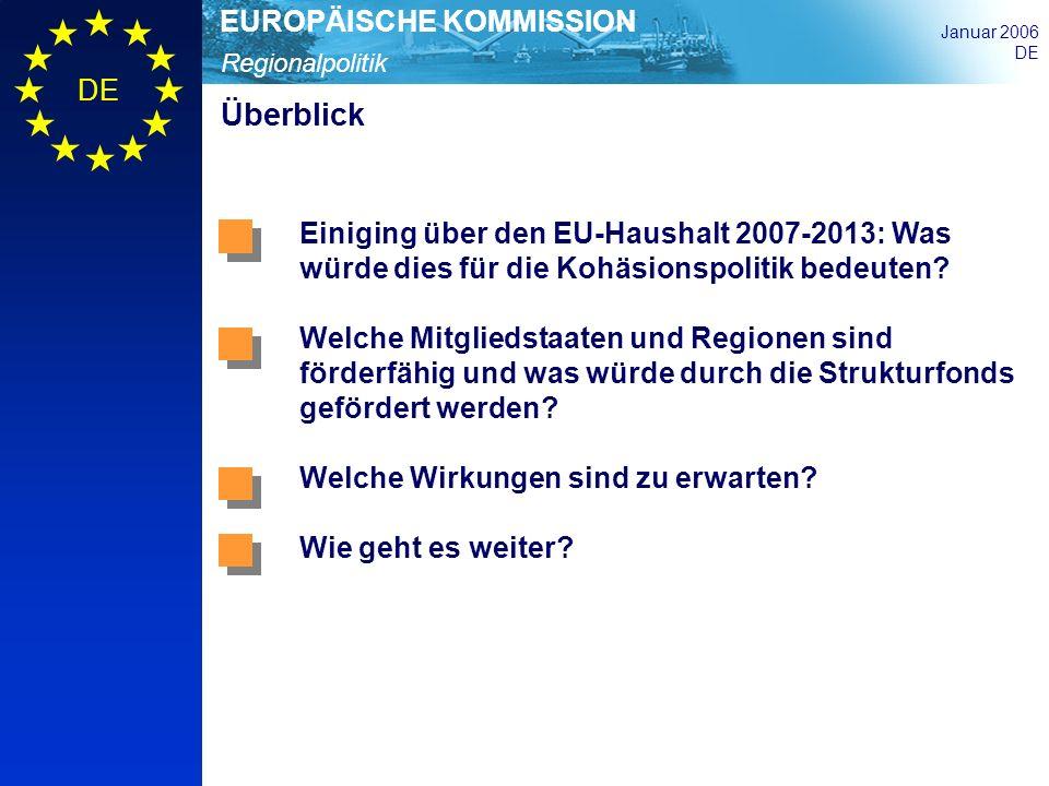 Überblick Einiging über den EU-Haushalt 2007-2013: Was würde dies für die Kohäsionspolitik bedeuten