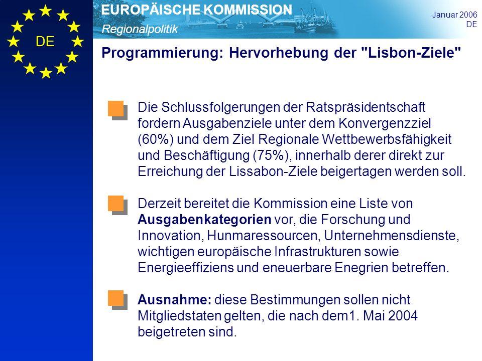 Programmierung: Hervorhebung der Lisbon-Ziele