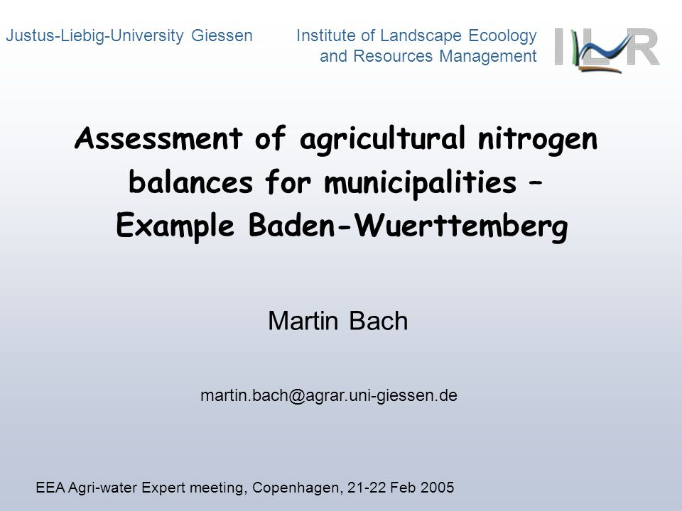 Assessment of agricultural nitrogen balances for municipalities – Example Baden-Wuerttemberg