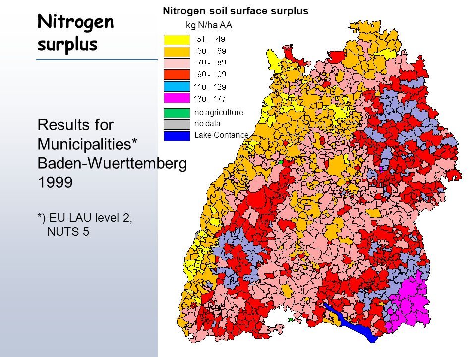 Nitrogen surplus Results for Municipalities* Baden-Wuerttemberg 1999