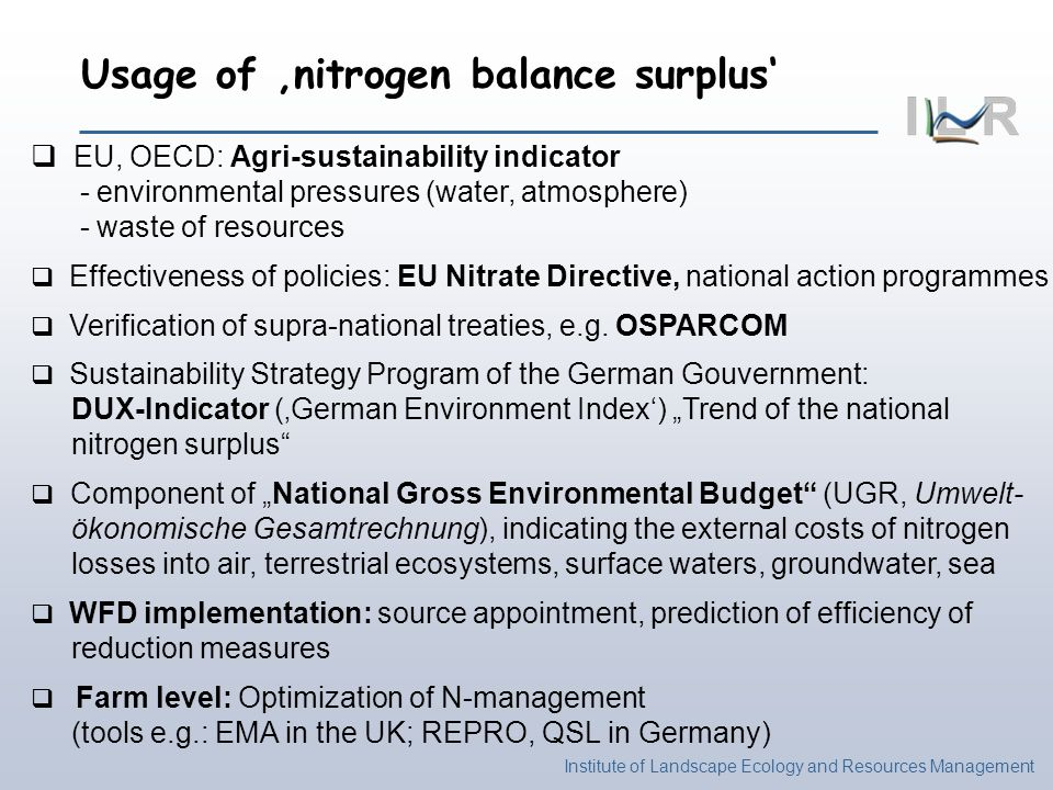 Usage of 'nitrogen balance surplus'