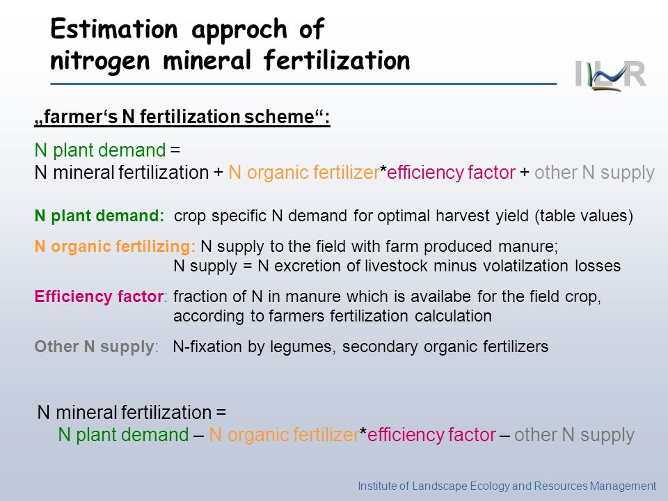 Estimation approch of nitrogen mineral fertilization