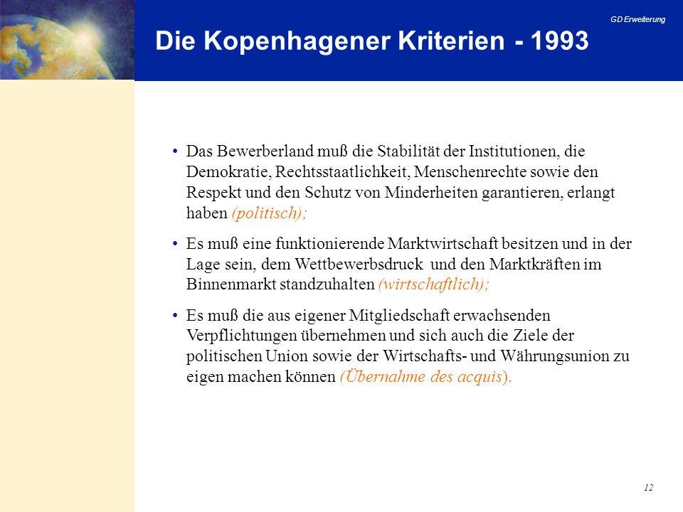 Die Kopenhagener Kriterien - 1993