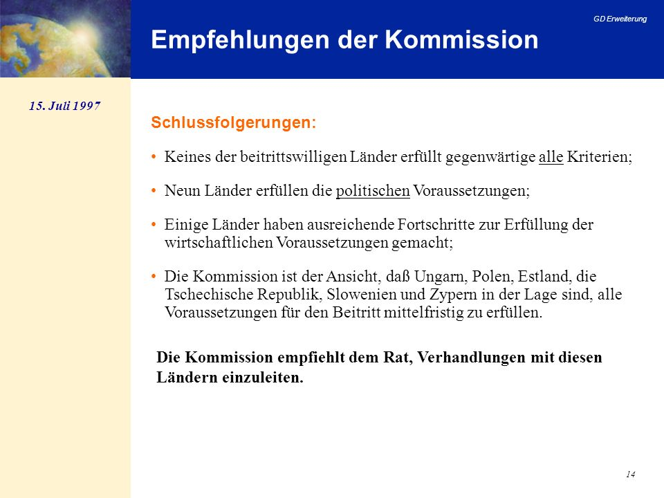 Empfehlungen der Kommission