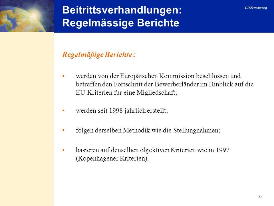 Beitrittsverhandlungen: Regelmässige Berichte