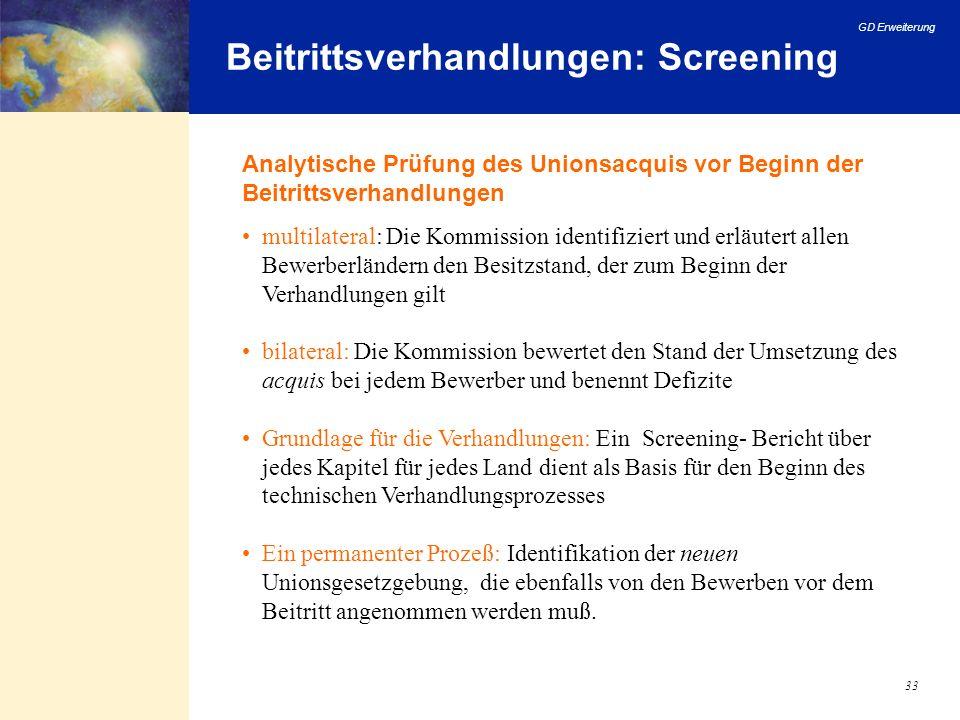 Beitrittsverhandlungen: Screening