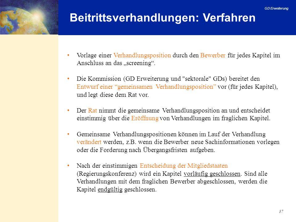 Beitrittsverhandlungen: Verfahren