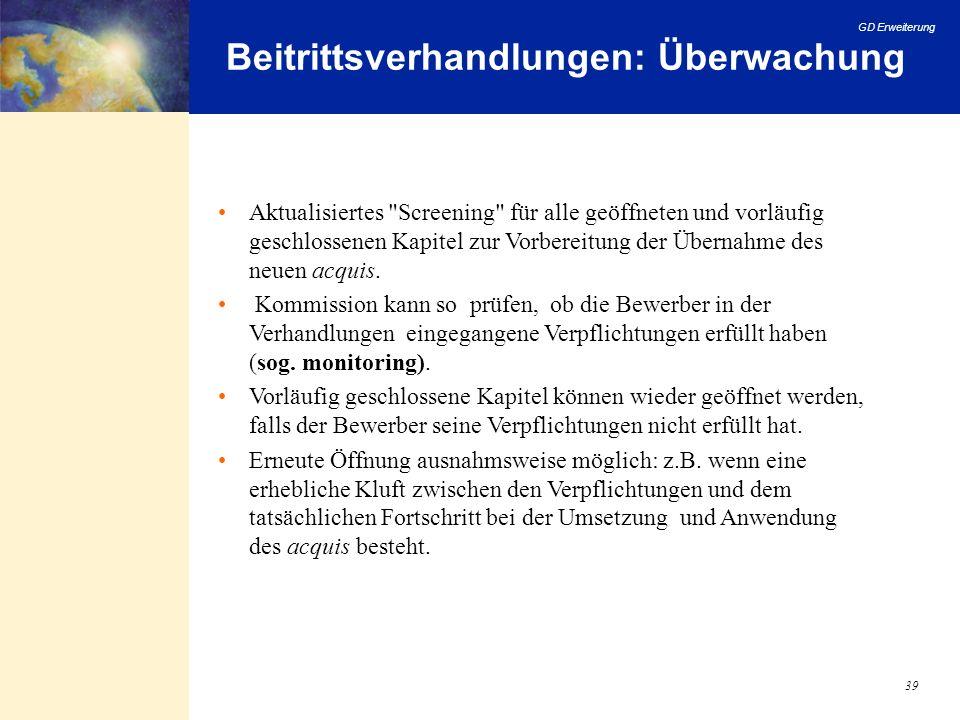 Beitrittsverhandlungen: Überwachung
