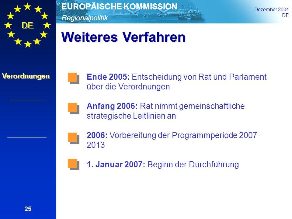 Weiteres Verfahren Ende 2005: Entscheidung von Rat und Parlament über die Verordnungen.