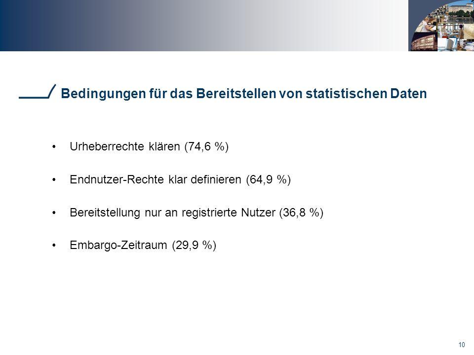 Bedingungen für das Bereitstellen von statistischen Daten