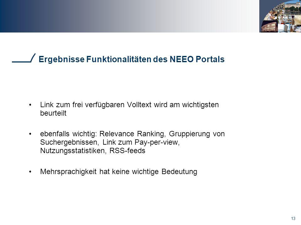 Ergebnisse Funktionalitäten des NEEO Portals