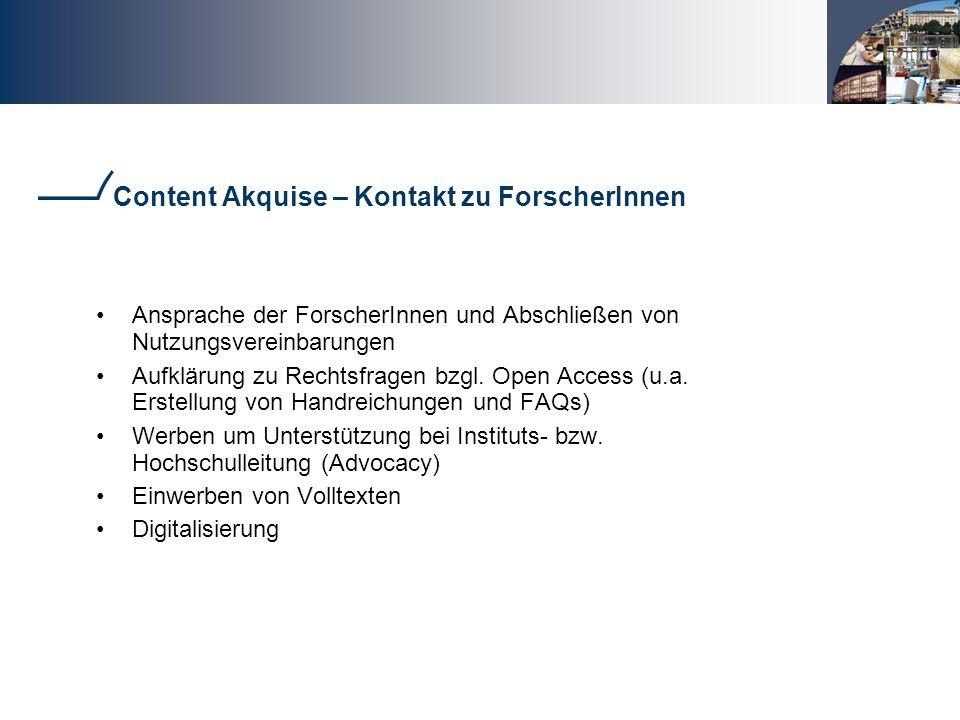Content Akquise – Kontakt zu ForscherInnen
