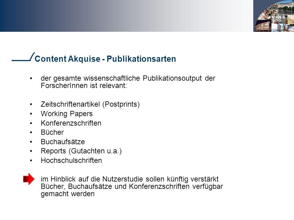 Content Akquise - Publikationsarten