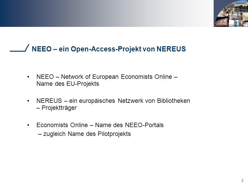NEEO – ein Open-Access-Projekt von NEREUS