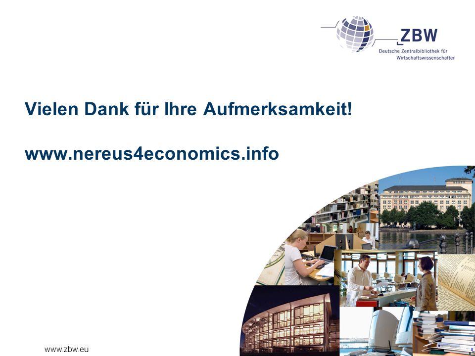Vielen Dank für Ihre Aufmerksamkeit! www.nereus4economics.info