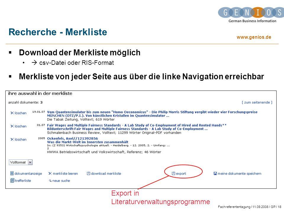 Recherche - Merkliste Download der Merkliste möglich