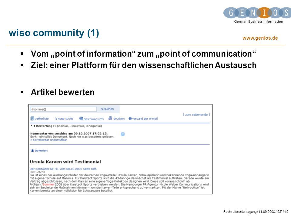 """wiso community (1) Vom """"point of information zum """"point of communication Ziel: einer Plattform für den wissenschaftlichen Austausch."""