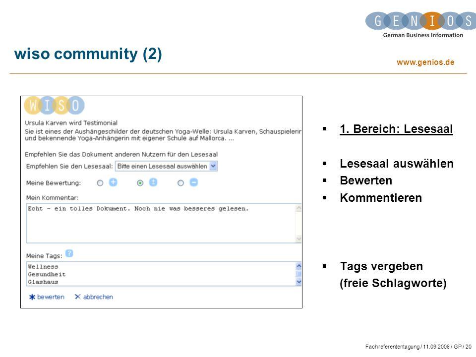 wiso community (2) 1. Bereich: Lesesaal Lesesaal auswählen Bewerten