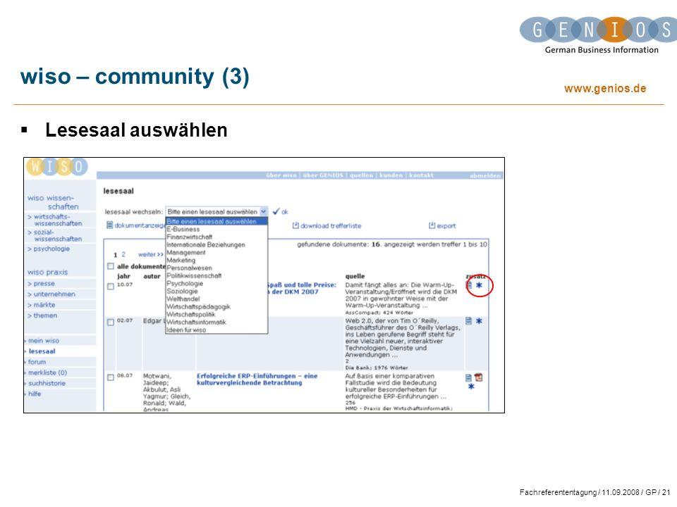 wiso – community (3) Lesesaal auswählen