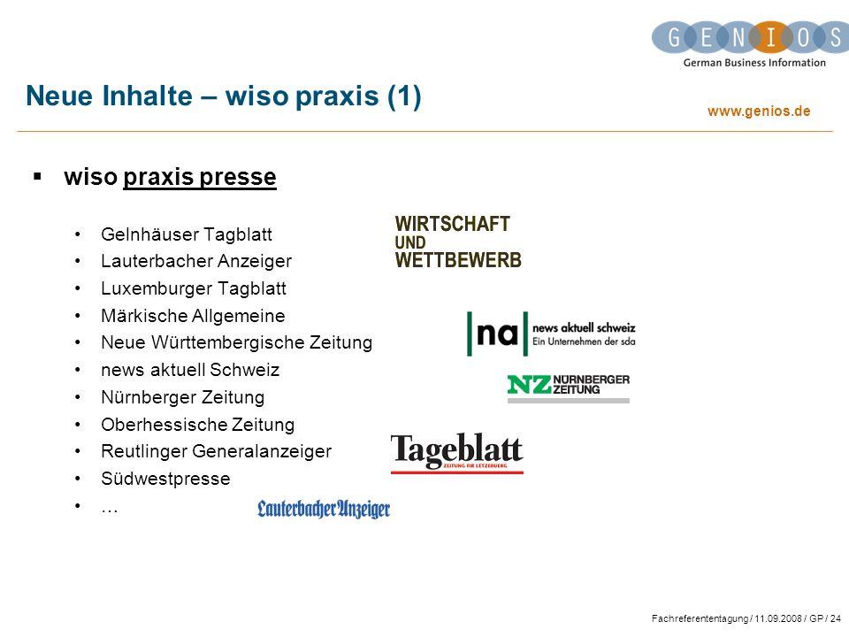 Neue Inhalte – wiso praxis (1)