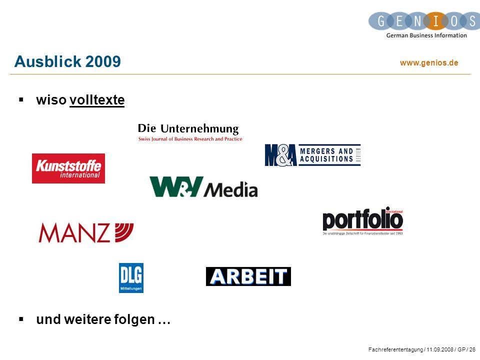 Ausblick 2009 wiso volltexte und weitere folgen …