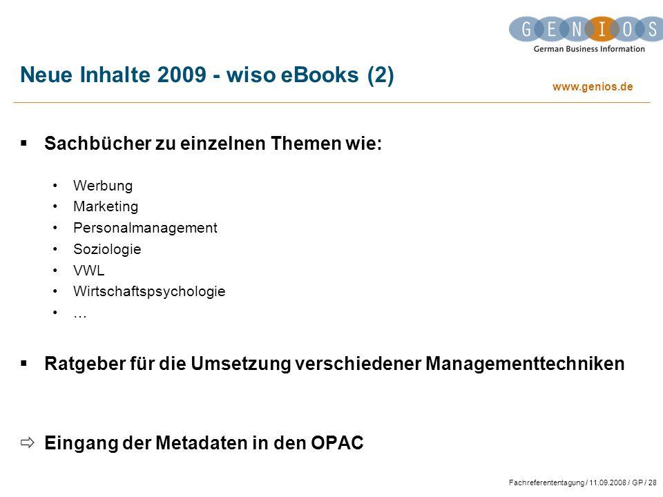Neue Inhalte 2009 - wiso eBooks (2)