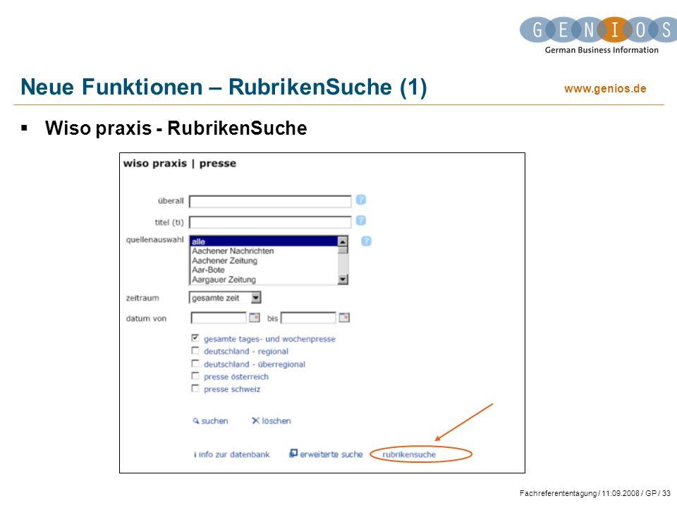 Neue Funktionen – RubrikenSuche (1)