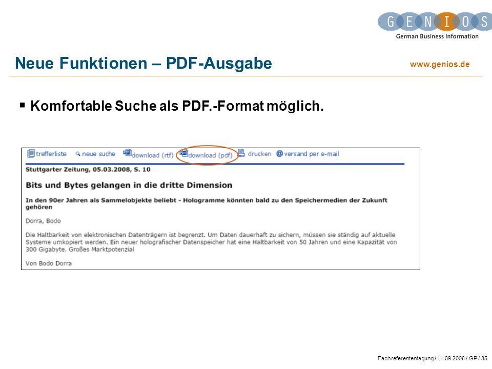 Neue Funktionen – PDF-Ausgabe