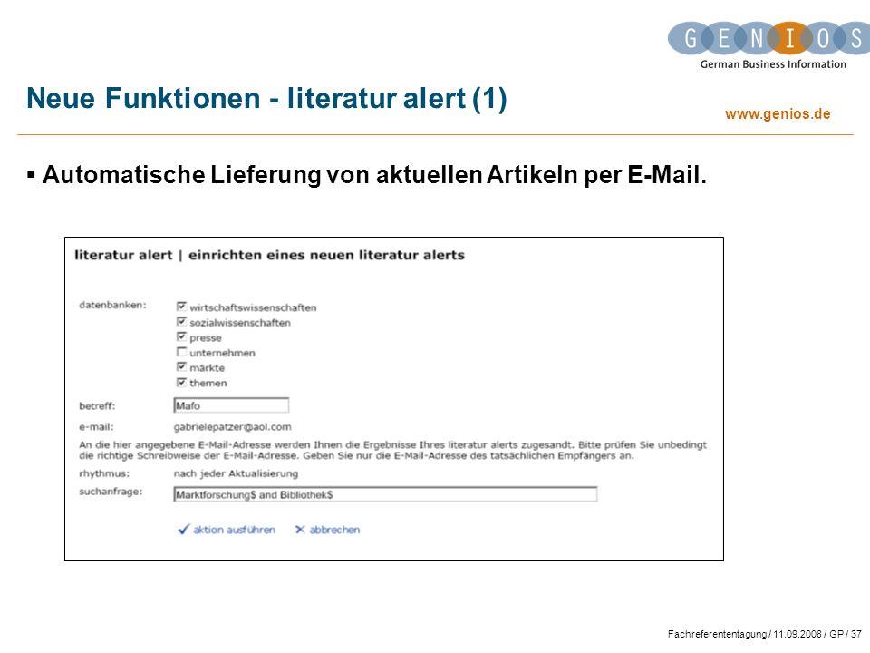Neue Funktionen - literatur alert (1)