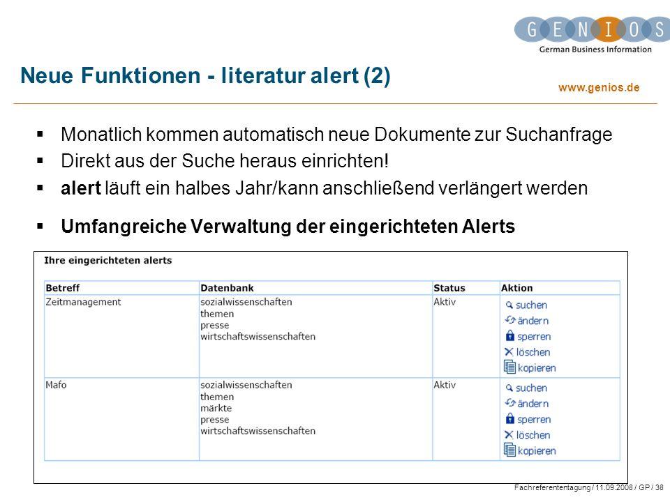 Neue Funktionen - literatur alert (2)