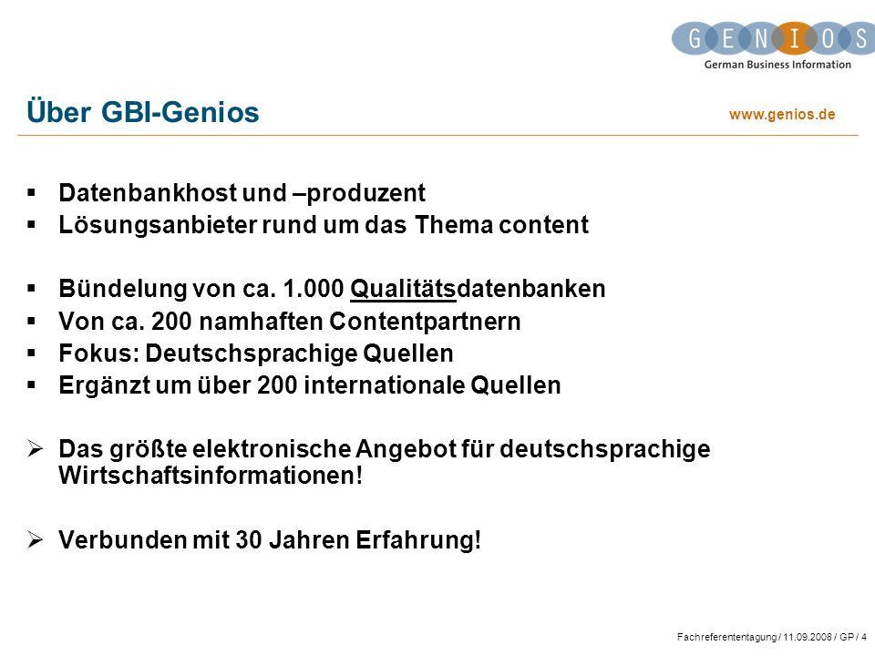 Über GBI-Genios Datenbankhost und –produzent