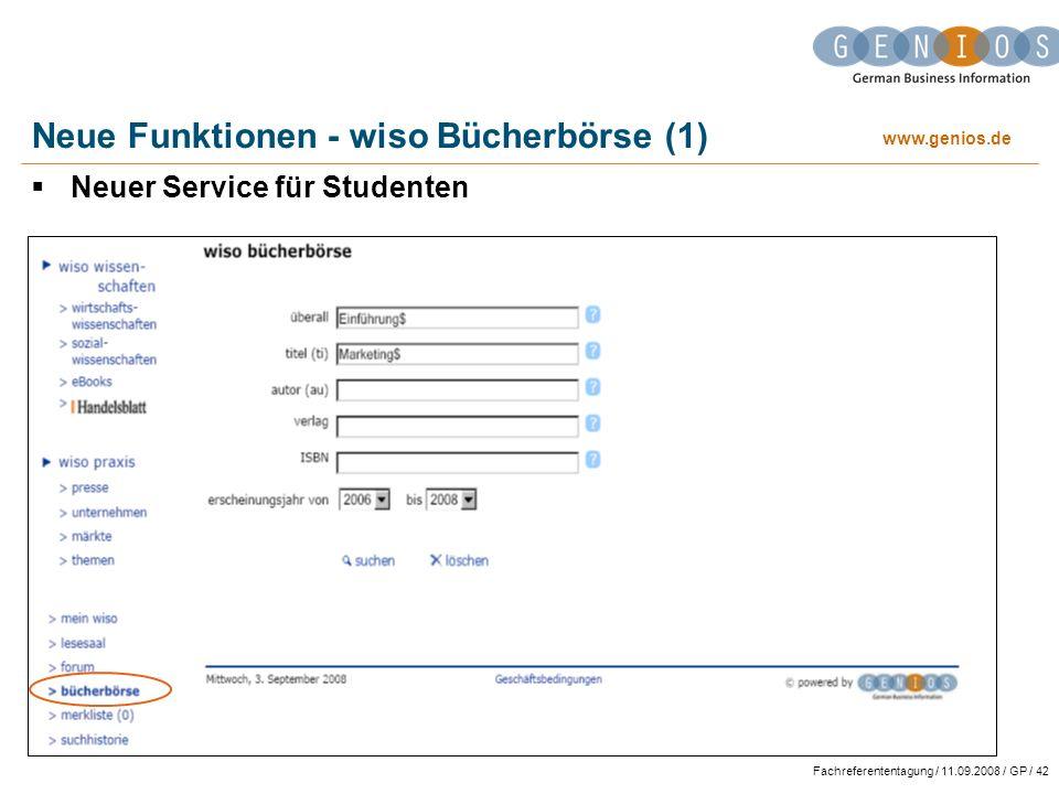 Neue Funktionen - wiso Bücherbörse (1)
