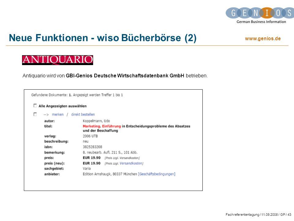Neue Funktionen - wiso Bücherbörse (2)