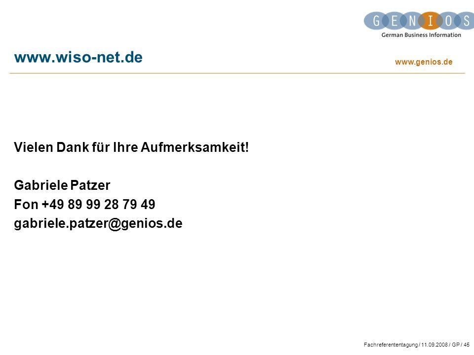 www.wiso-net.de Vielen Dank für Ihre Aufmerksamkeit! Gabriele Patzer