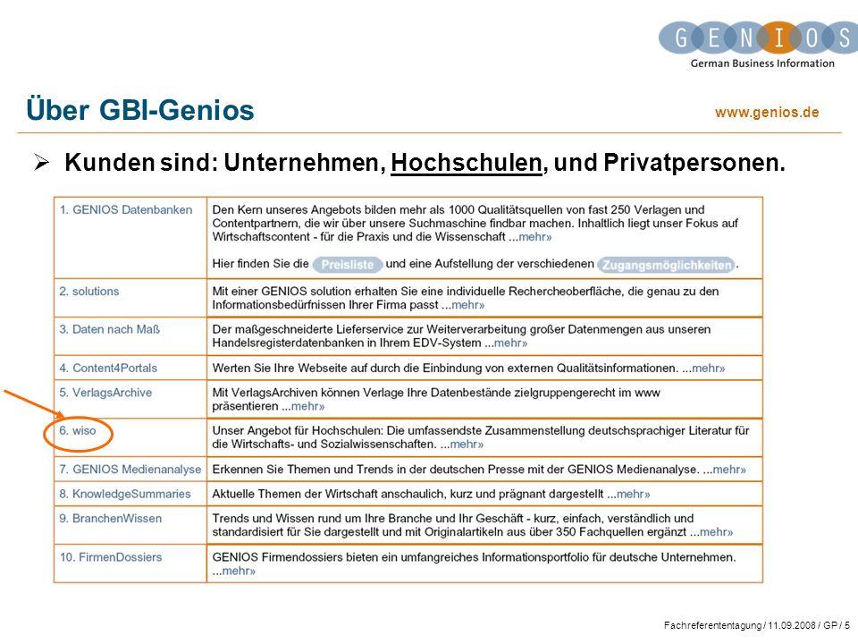 Über GBI-Genios Kunden sind: Unternehmen, Hochschulen, und Privatpersonen.