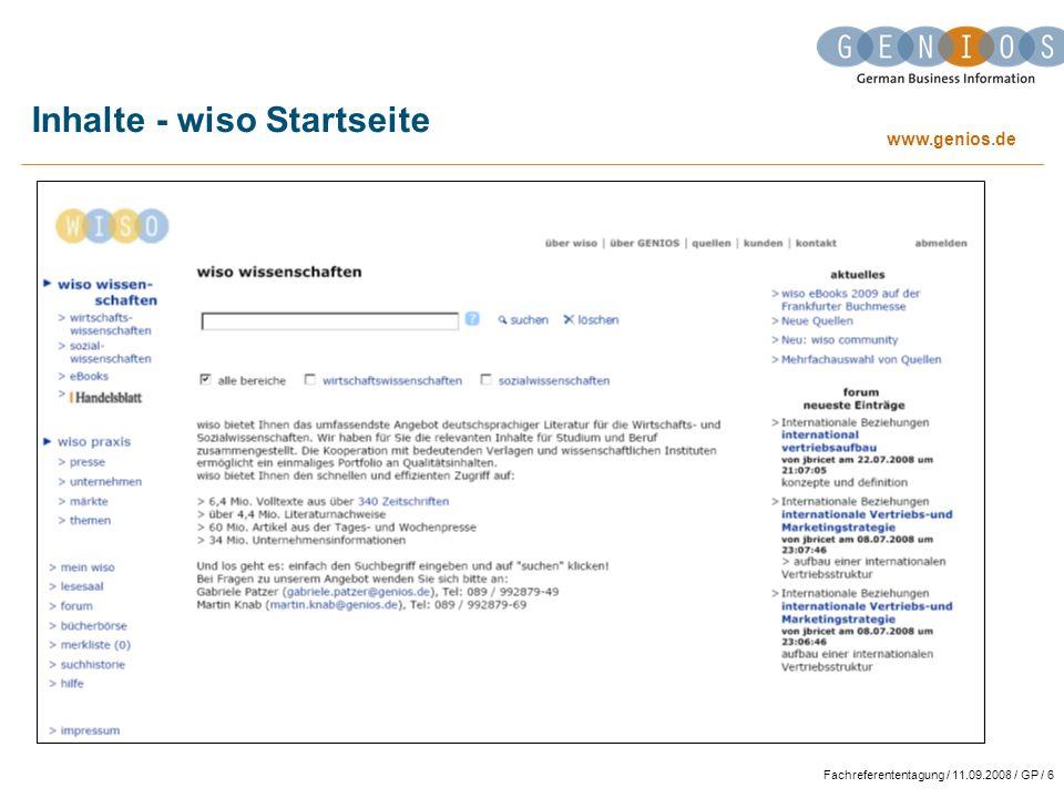Inhalte - wiso Startseite