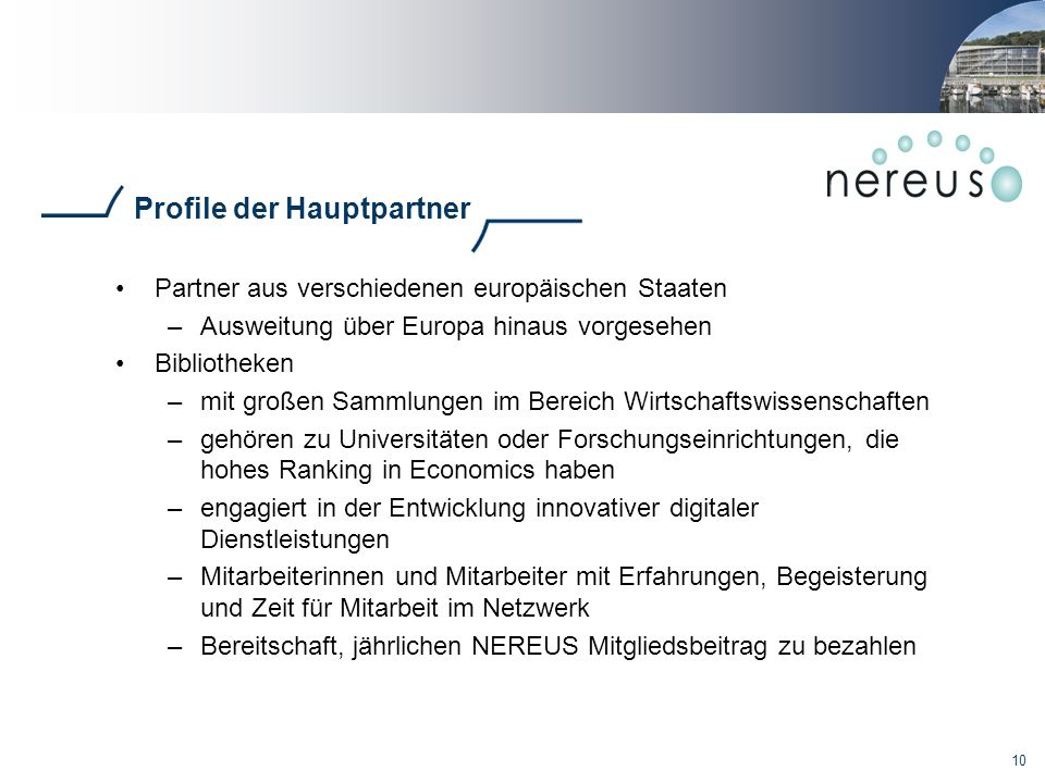 Profile der Hauptpartner