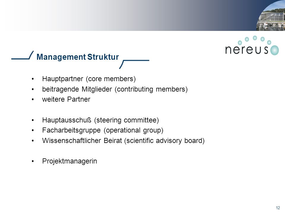 Management Struktur Hauptpartner (core members)