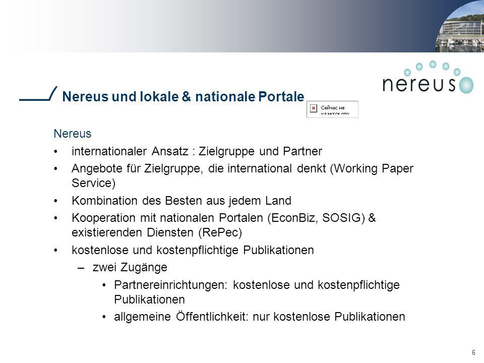 Nereus und lokale & nationale Portale