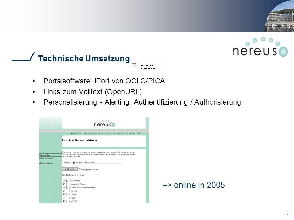 Technische Umsetzung => online in 2005