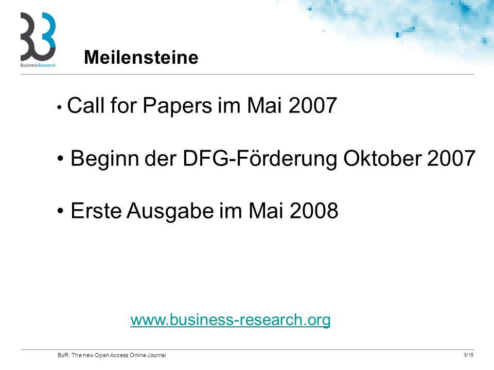 Beginn der DFG-Förderung Oktober 2007 Erste Ausgabe im Mai 2008