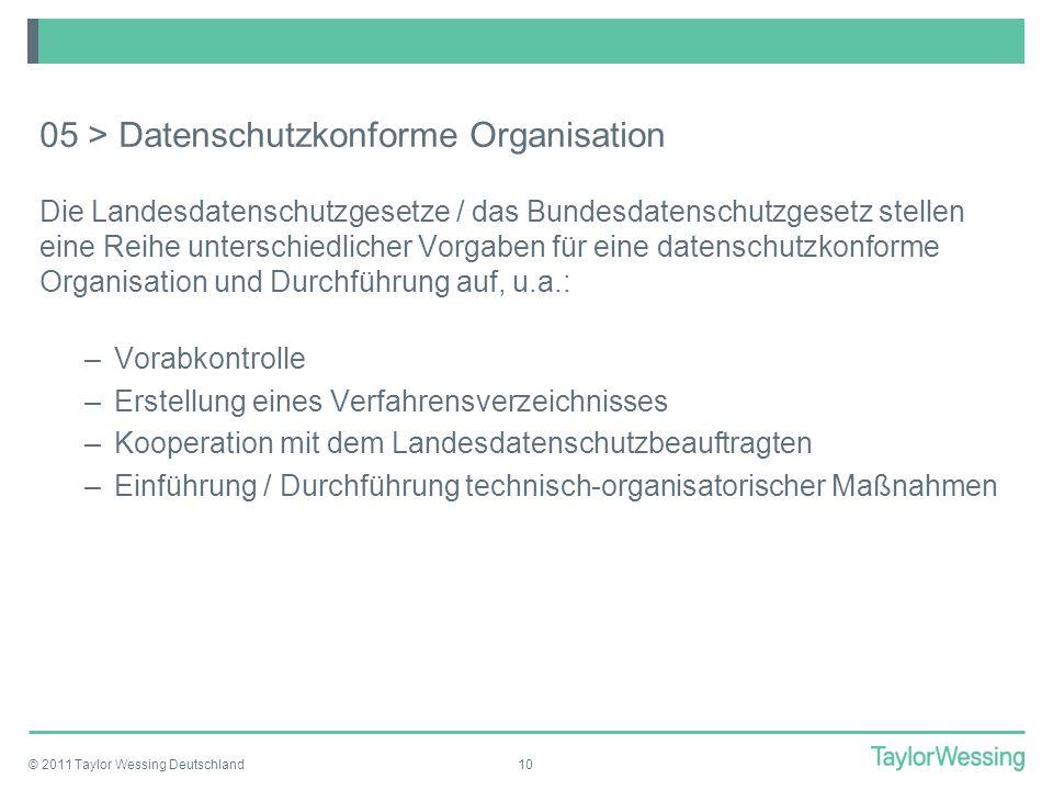 05 > Datenschutzkonforme Organisation